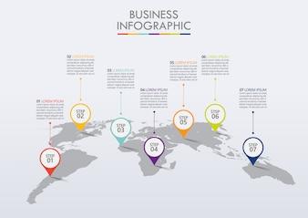 プレゼンテーションビジネスインフォグラフィックテンプレートには7つのオプションがあります。