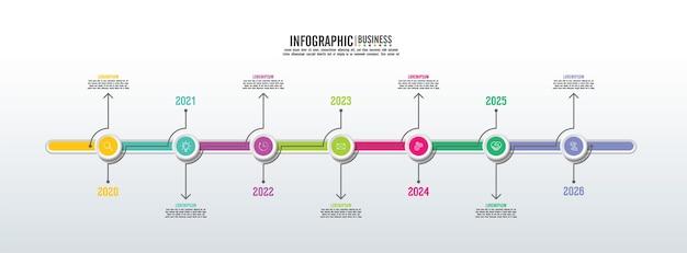 Шаблон бизнес-инфографики презентации с 7 шагами