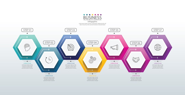 Presentation business infographic template with 7 step