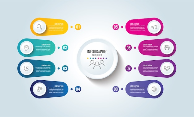 Presentation business infographic template with 8 step