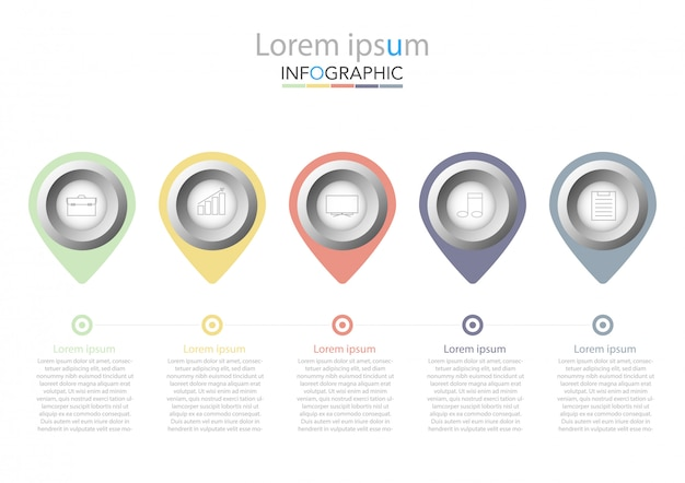 Presentation business infographic template with five options. vector illustration.