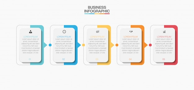 Presentation business infographic template with five options