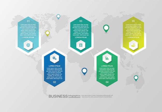 Шаблон бизнес-инфографики презентации с пятью шагами