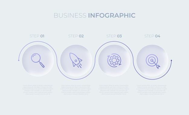 4つのオプションを備えたプレゼンテーションビジネスインフォグラフィックテンプレートプレミアムベクトル