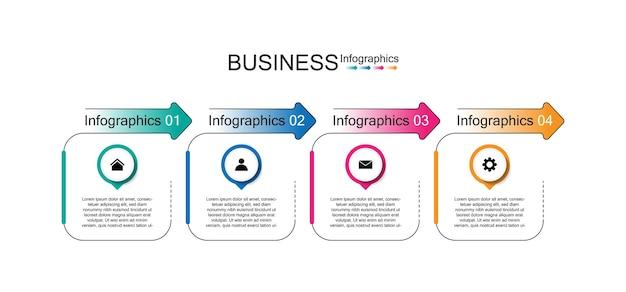 4つのステップを持つプレゼンテーションビジネスインフォグラフィックテンプレート