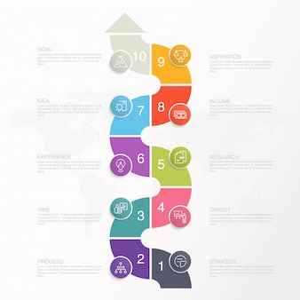 Presentation business infographic template with icons and 10 options or steps.