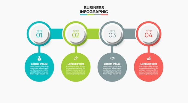 オプション付きのプレゼンテーションビジネスインフォグラフィックテンプレート。