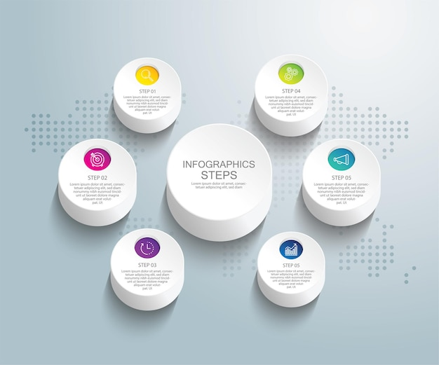 Шаблон бизнес-инфографики презентации с шестью шагами