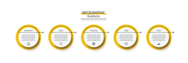 Шаблон бизнес-инфографики презентации с шагом