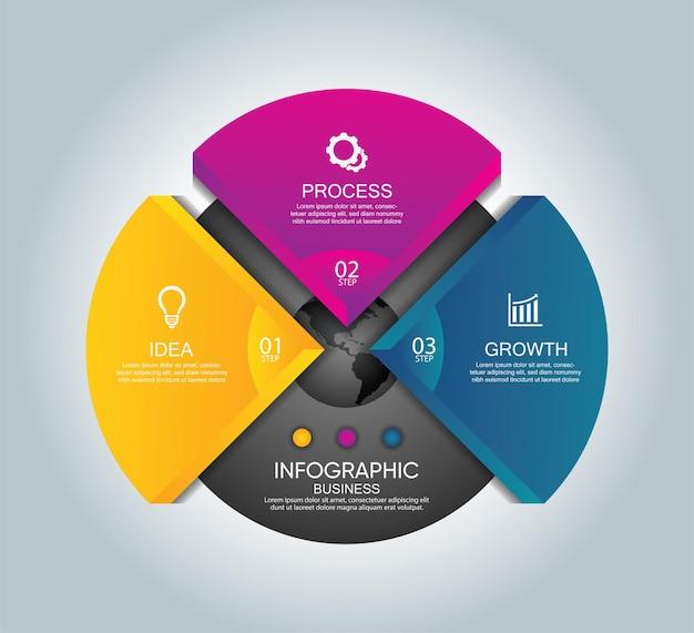 Презентация бизнес-инфографики с тремя шагами