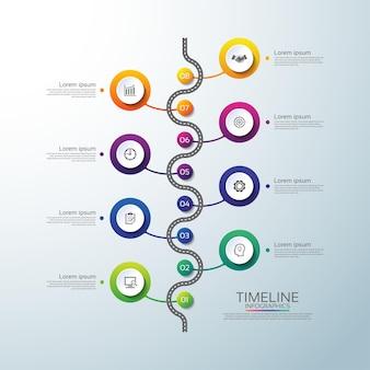 8つのステップでカラフルなプレゼンテーションビジネスインフォグラフィックタイムラインサークル
