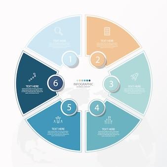 フローチャートの細い線のアイコンと6つのオプションを持つプレゼンテーションビジネスインフォグラフィック