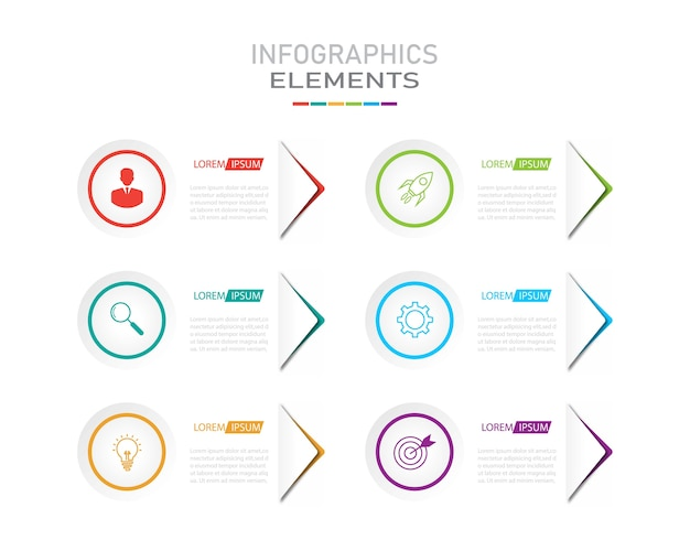 Presentation business infographics template with 6 options.