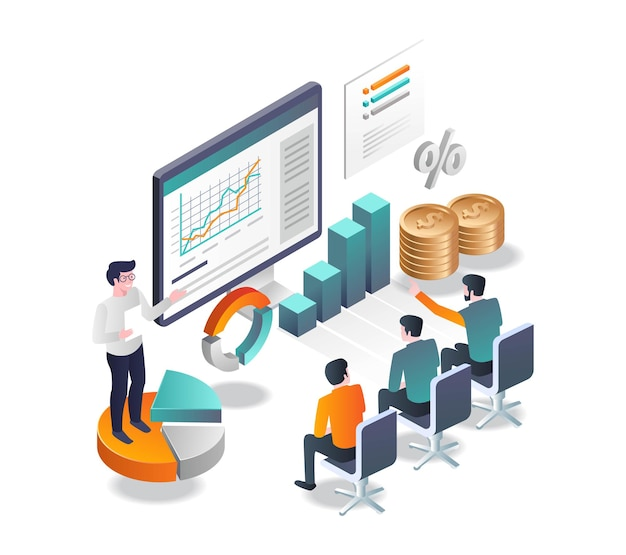 Presentation on business investment in isometric illustration