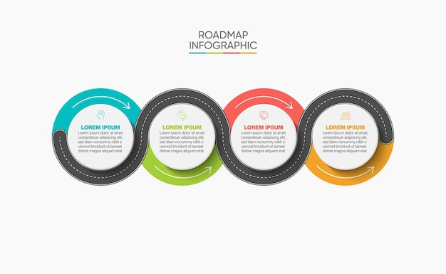Presentation business road map infographic template with 4 options.