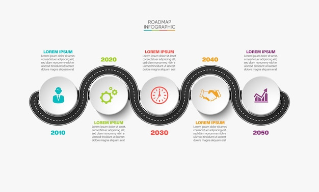 Presentation business road map infographic template with 5 options