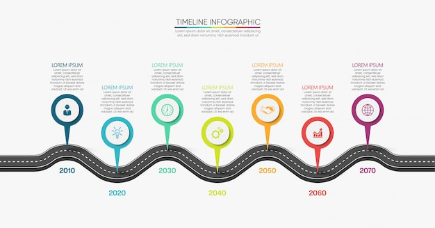 Presentation business road map infographic template