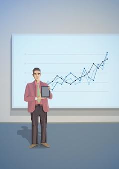 Presentation businessman tablet polygonal office illustration.