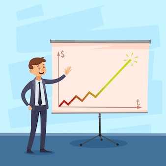 Presentation of career with businessman near whiteboard with colored graph on textured blue background vector illustration