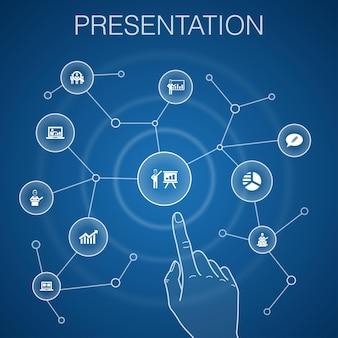 Presentation concept, blue background.lecturer, topic, business presentation, diagram icons