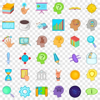 Presentation icons set. cartoon style of 36 presentation icons