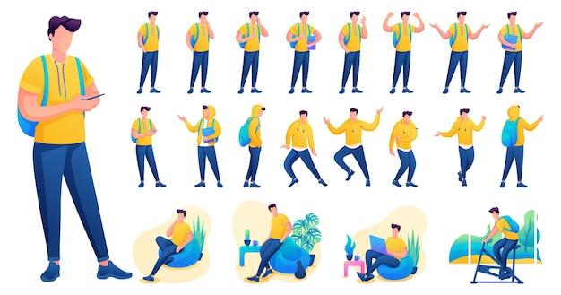 Представление в различных позах и действиях персонажа. молодые мужчины. 2d плоский характер векторные иллюстрации n1.