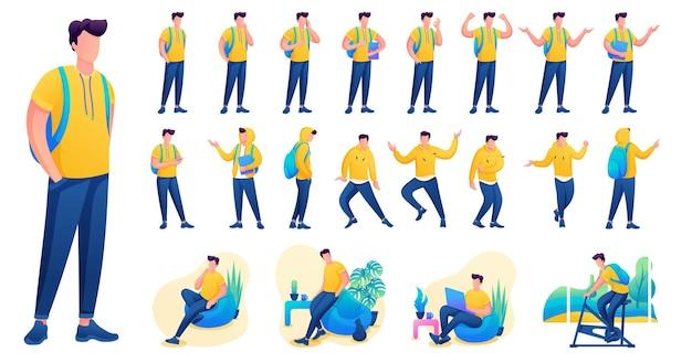 Представление в различных позах и действиях персонажа. молодые мужчины. 2d плоская векторная иллюстрация персонажа n2.