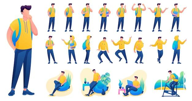 Представление в различных позах и действиях персонажа. молодые мужчины. 2d плоский характер векторные иллюстрации n3.