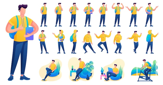 Представление в различных позах и действиях персонажа. молодые мужчины. 2d плоский характер векторные иллюстрации n4.