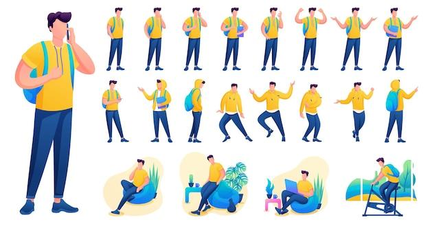 Представление в различных позах и действиях персонажа. молодые мужчины. 2d плоский характер векторные иллюстрации n5.