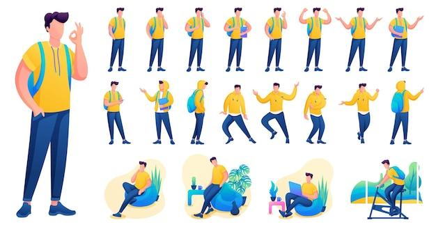 Представление в различных позах и действиях персонажа. молодые мужчины. 2d плоский характер векторные иллюстрации n6.