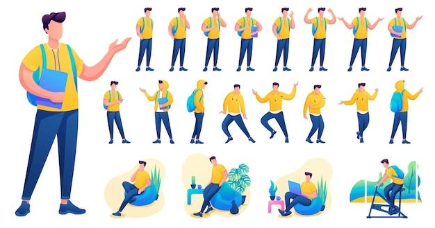 Представление в различных позах и действиях персонажа. молодые мужчины. 2d плоский характер векторные иллюстрации n7.