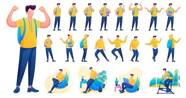 Представление в различных позах и действиях персонажа. молодые мужчины. 2d плоский характер векторные иллюстрации n8.