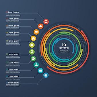 Presentation infographic circle chart 10 options.