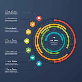 Presentation infographic circle chart 7 options.