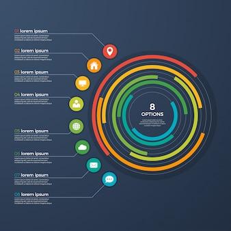 Presentation infographic circle chart 8 options.