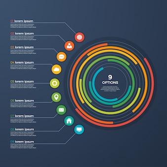 Presentation infographic circle chart 9 options.