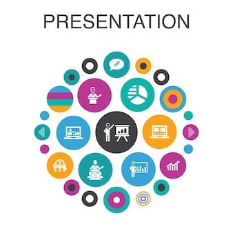 Presentation infographic circle concept. smart ui elements lecturer, topic, business presentation, diagram
