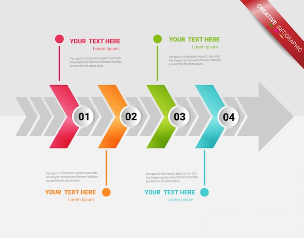 Presentation infographic template with 4 options