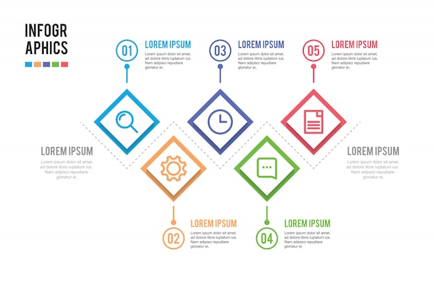 Presentation infographic with 5 steps
