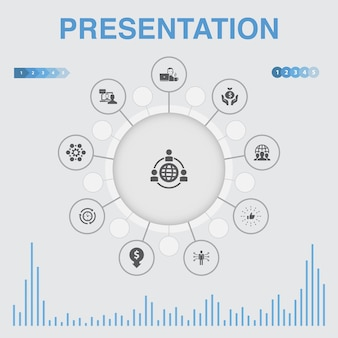 Presentation  infographic with icons. contains such icons as  lecturer, topic, business presentation, diagram