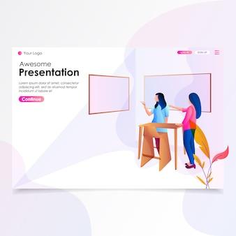 Presentation landing page illustration