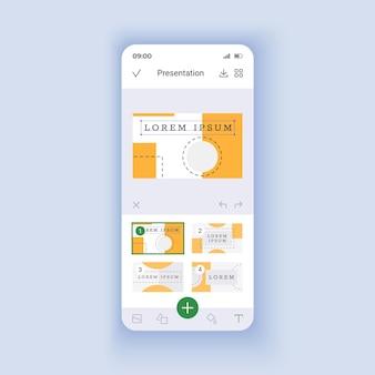 가벼운 스마트폰 인터페이스 벡터 템플릿을 만드는 프레 젠 테이 션. 모바일 앱 페이지 디자인 레이아웃입니다. 프로젝트 의제. 데이터 관리 화면용 휴대용 소프트웨어. 응용 프로그램에 대한 평면 ui. 전화 디스플레이