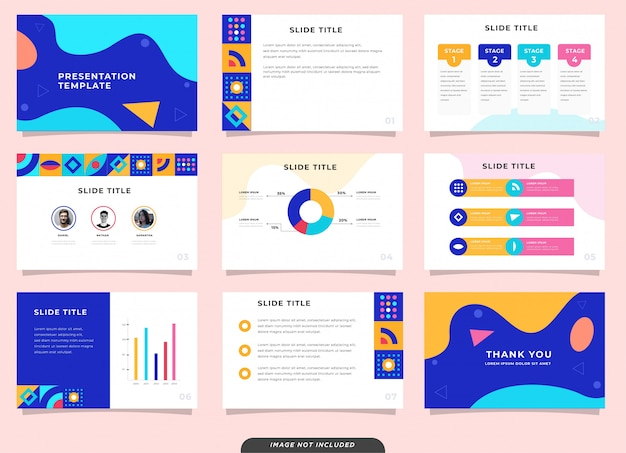 Presentation multiple pages template on memphis design style