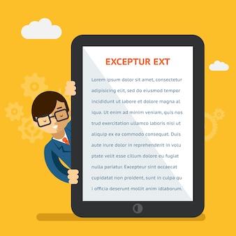 모바일 앱 또는 제품 프레젠테이션. 태블릿의 화면에 텍스트를 보여주는 사업가. 디지털 표시, 표시 및 터치. 벡터 일러스트 레이 션