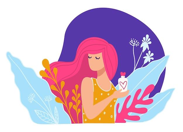 コマーシャルでのスキンケア製品のプレゼンテーション。ローションまたはクリーム、シャンプーまたは健康的なコンディショナーが付いている花の咲く保持管に囲まれた長い髪のエレガントなモデル。フラットスタイルのベクトル
