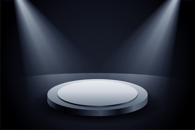 2つのフォーカスの明るい背景のプレゼンテーション表彰台