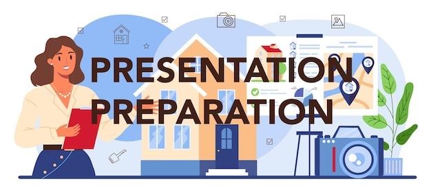 プレゼンテーションの準備の活版印刷のヘッダー。不動産販売広告、