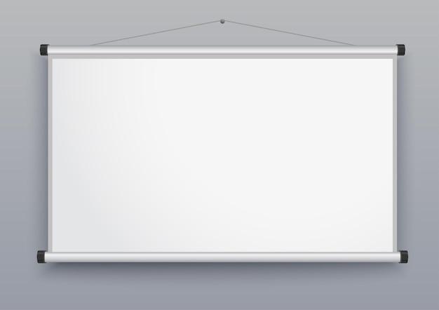 プレゼンテーション画面、空白のホワイトボード、セミナー用のウォールプロジェクター、会議用の空のボード