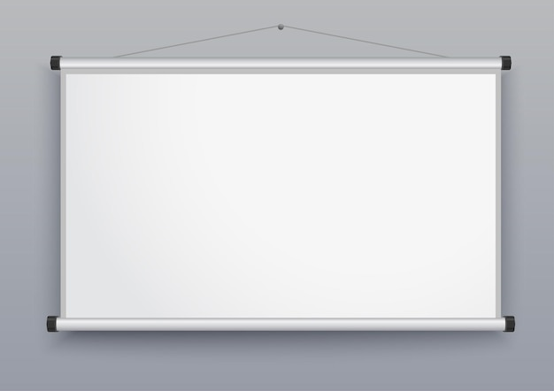 Presentation screen, blank whiteboard, wall projector for seminar, empty board for conference